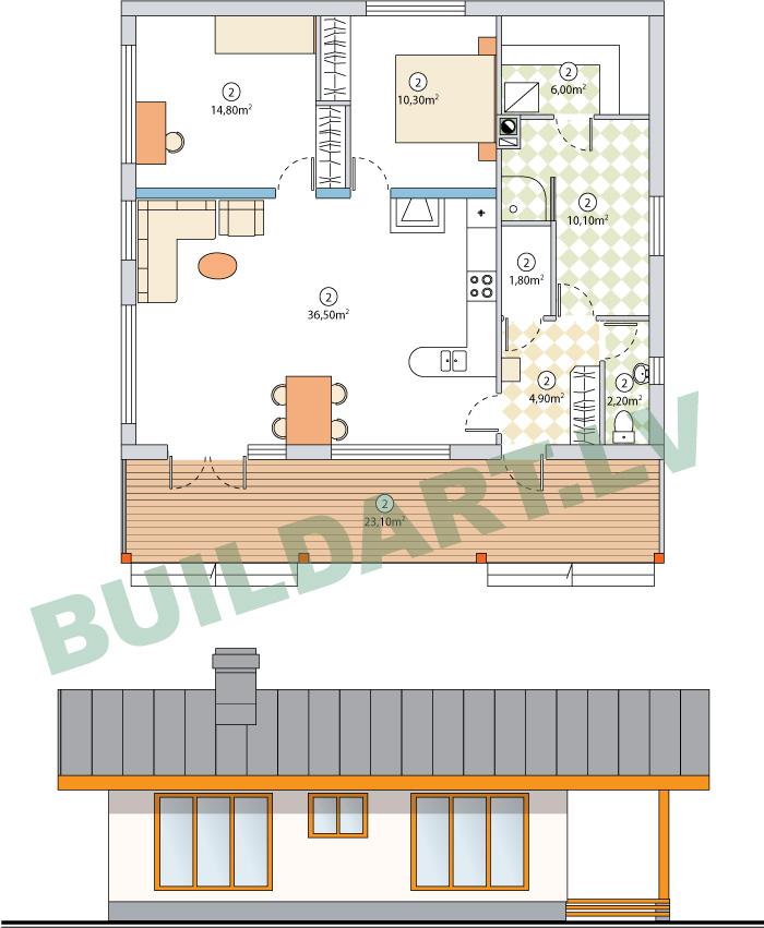 """Vienstāvīgas mājas projekts """"Eižens"""", platība 88 kvadrātmetri"""
