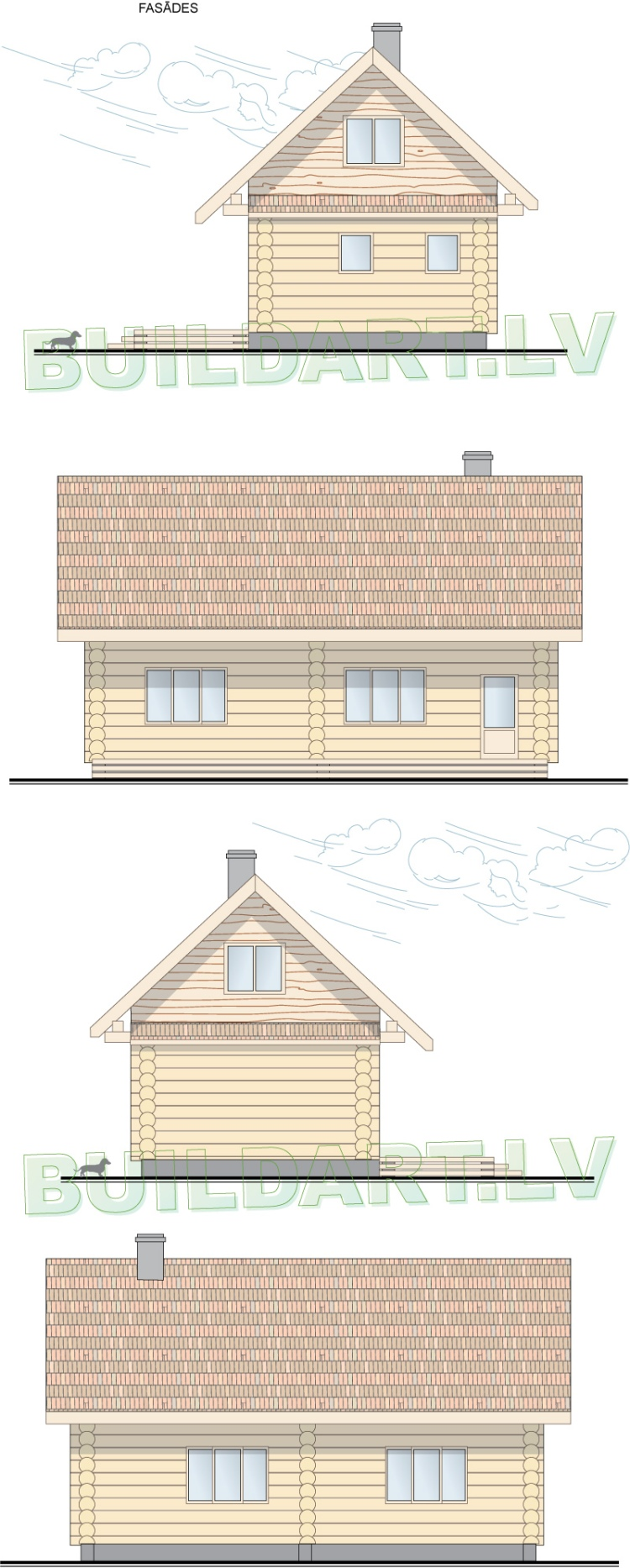 Mednieku namiņa projekts - fasādes