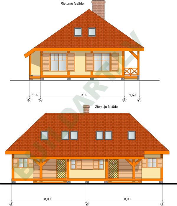Dvīņu brīvdienu mājas projekts, 2x82m2
