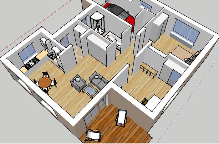 Vienstāvīgas mājas projekts, trīs dimensiju interjera skats