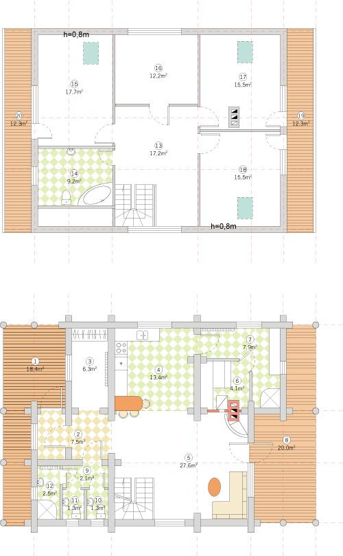 Guļbaļķu dzīvojamās mājas projekts