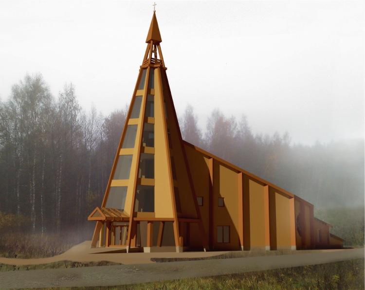 jaunā Valer baznīca Norvēģijā, projekta priekšlikums, skiču projekts