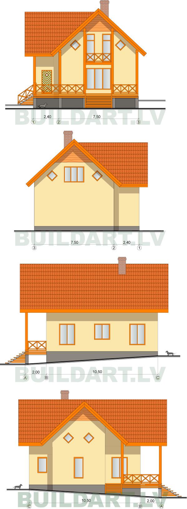 """Mājas projekts """"Viktors"""" 135kvm, fasādes"""