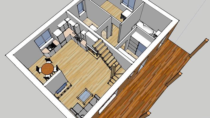 Mājas projekta trīs dimensiju interjera skati