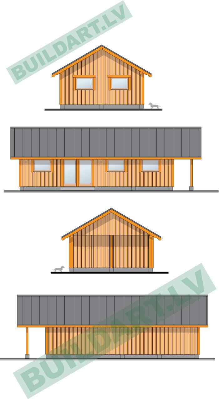 Saimniecības ēkas - šķūņa projekts, fasādes