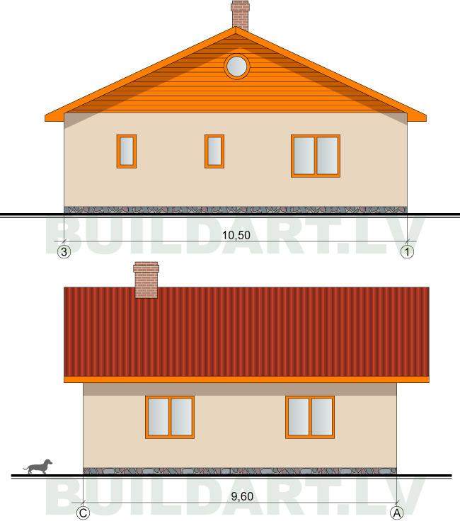 """Saimniecības ēkas projekts """"Edžus"""" 65kvm (pagaidu dzīvojamā ēka)"""
