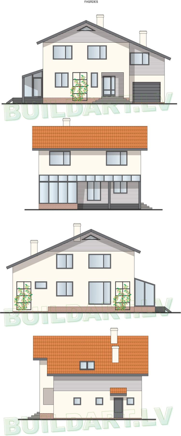 """Vidēji lielas mājas projekts """"Raitis"""", fasādes"""