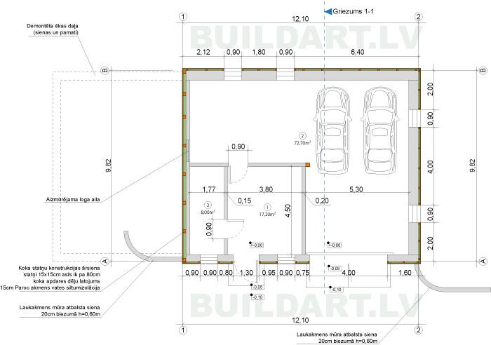 Saimniecības ēkas projekts - plāns