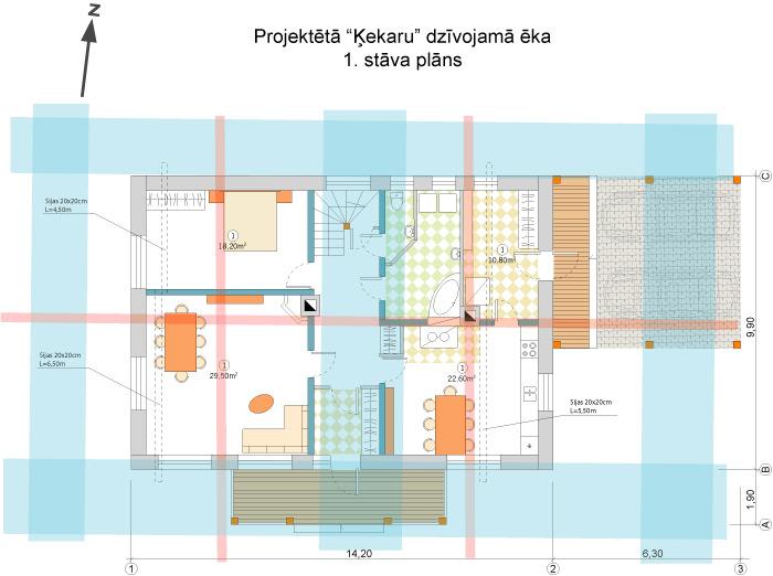 Lauku mājas projekts - plāns saskaņā ar āderu tīklu