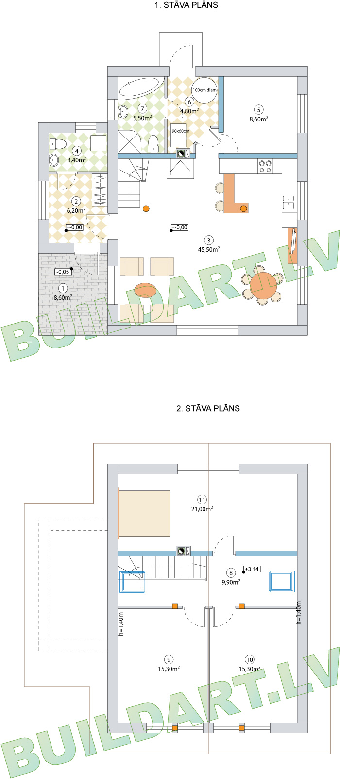 """Dzīvojamās mājas projekts """"Rita 3"""", stāvu plāni"""
