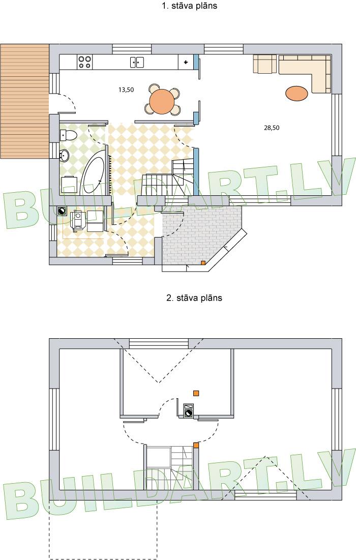 """Projekts """"Ansis"""", versija ar plašu virtuvi, stāvu plāni"""