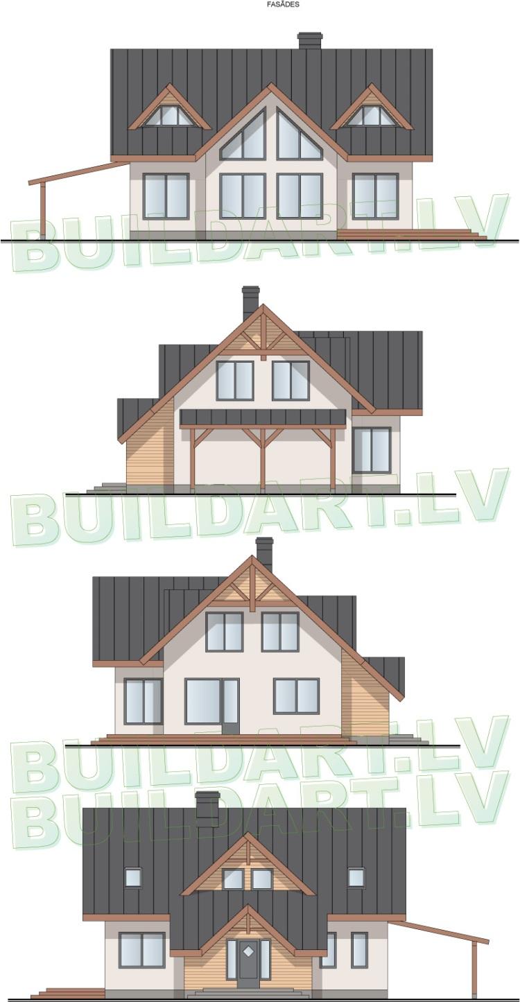 Dzīvojamās mājas projekts Aleksandrs - projekta fasādes