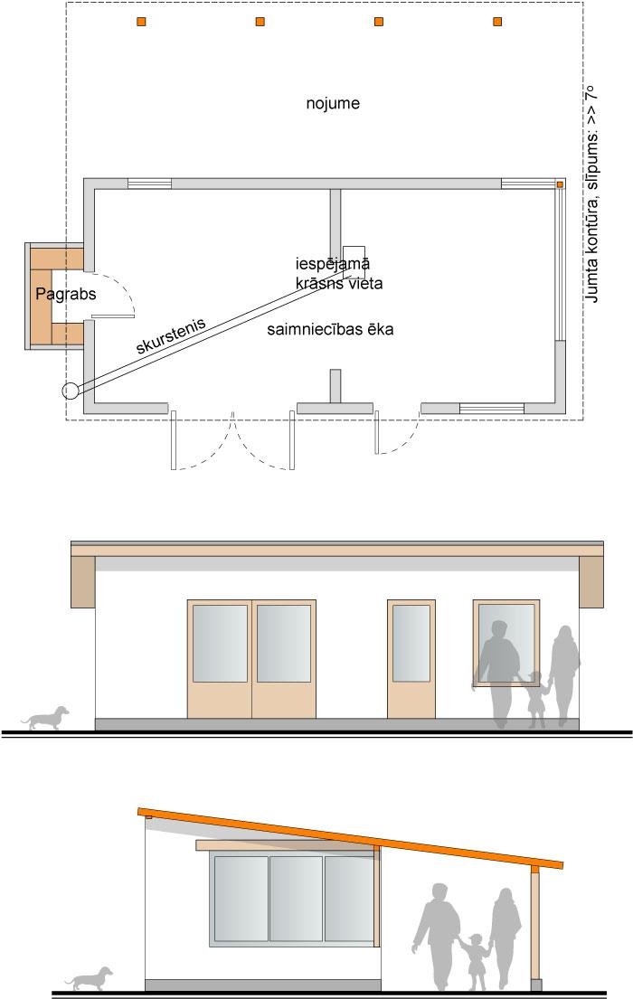 Saimniecības ēkas skiču projeks, plāns un fasādes