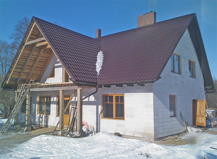 Lauku mājas projekts, fasāde, būvniecības gaita