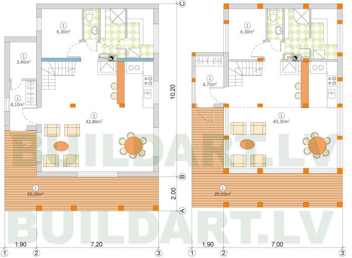 Dzīvojamās ēkas projekta versija ar pirti