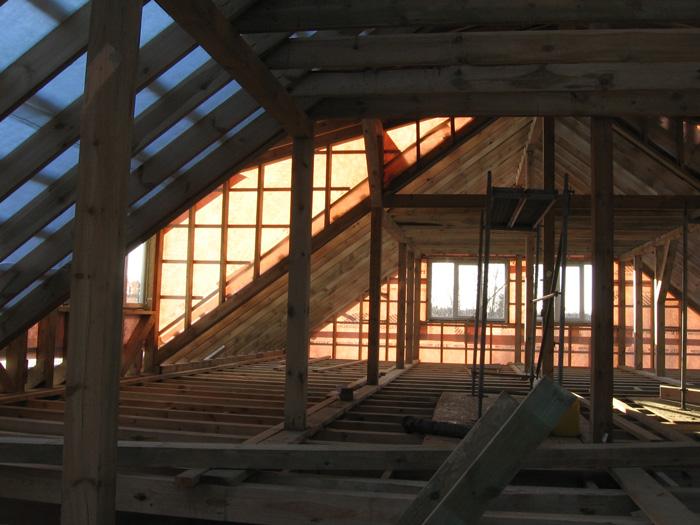 Saimniecības ēkas projekts, būvniecības procesa bildes