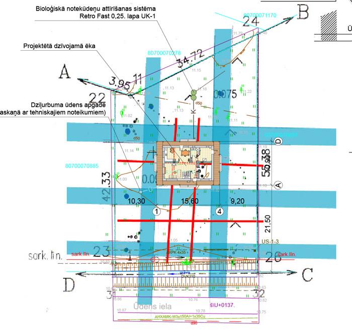 Mājas projekta novietnes plāns - ģenplāns ar āderu tīklojumu