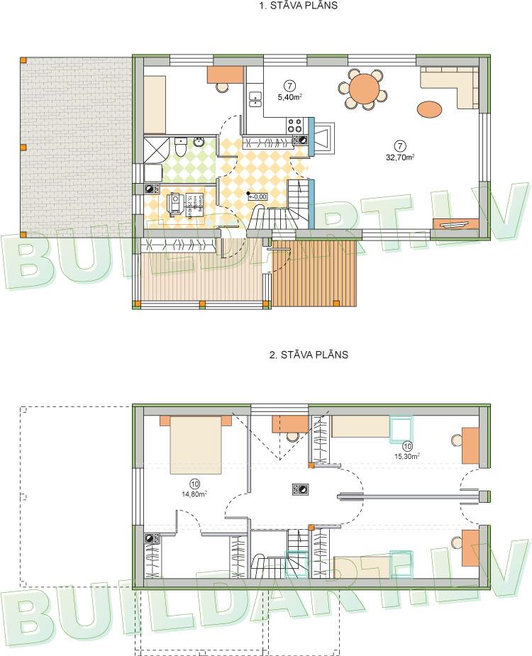 """Dzīvojamās mājas projekts """"Lielais Ansis"""" - stāvu plāni"""