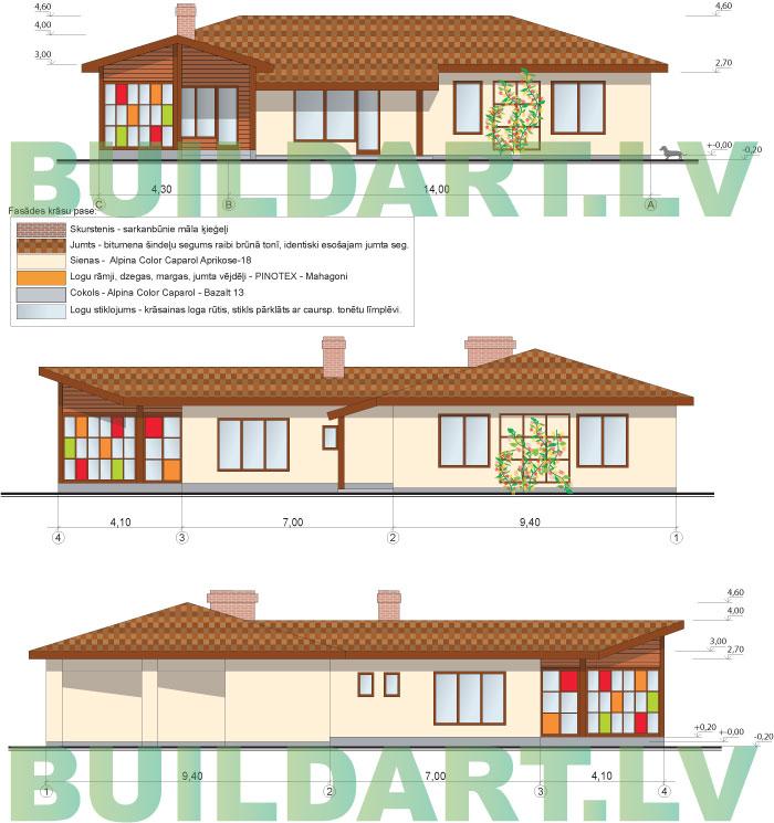 Rekonstrukcijas projekts - pirts un atpūtas telpas pie dzīvojamās mājas, fasādes