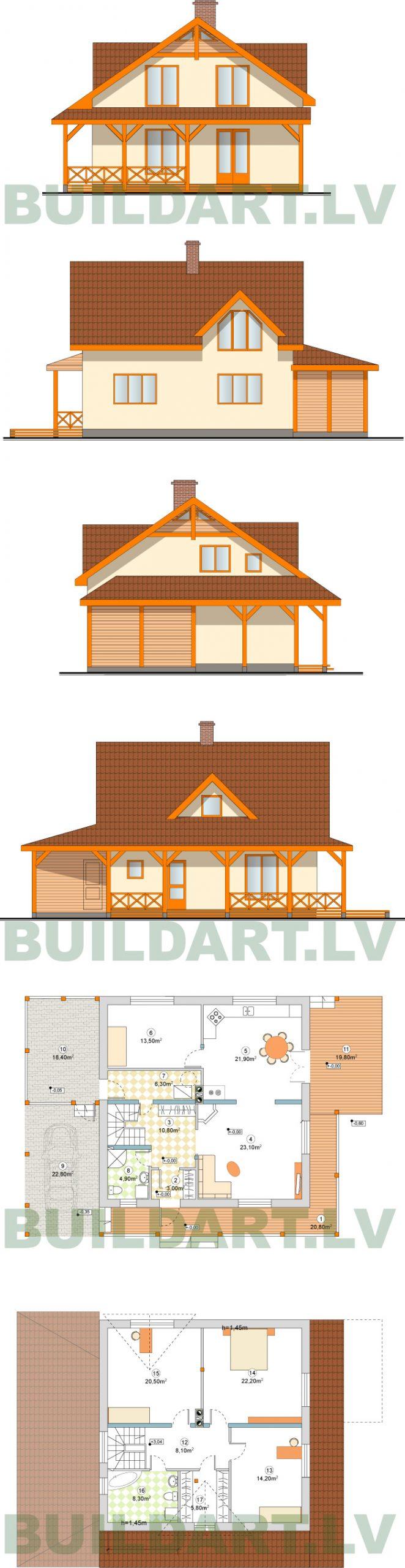 """Mājas projekts """"Agnis"""", 180kvm, fasādes un plāni"""