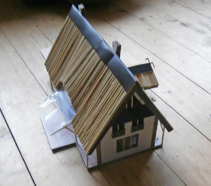 Salmu mājas projekts Rožkalnos, ēkas maketa foto