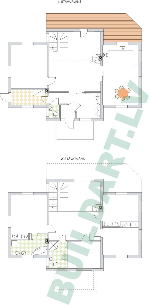 Savrupmājas projekts, māja 3 paaudzēm - stāvu plāni