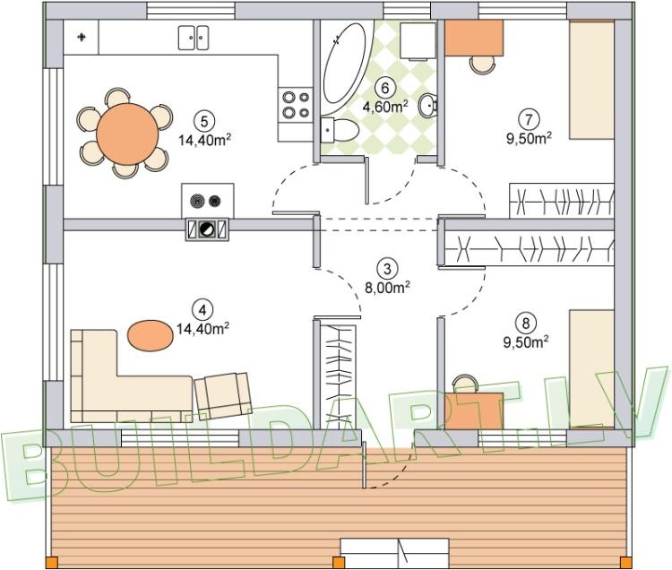 """Māja pie upes, projekts - """"Namiņš jaunai ģimenei"""", plāns"""