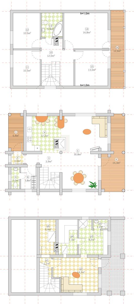 Guļbūves dzīvojamā ēka ar pirti 190m2 projekts