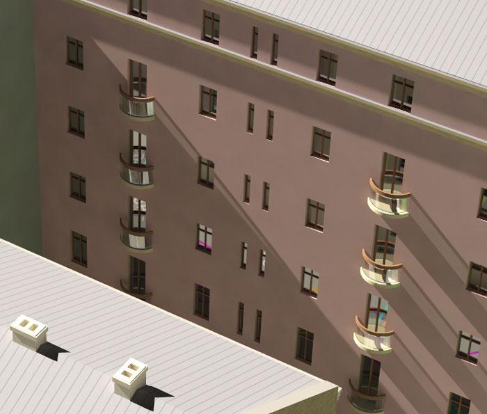 Vizualizācija dzīvokļu mājas rekonstrukcijai