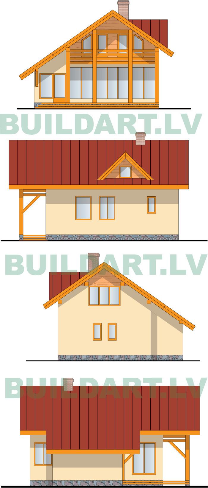 """dzīvojamās mājas projekts """"Rita 2"""" fasādes 2. vers"""