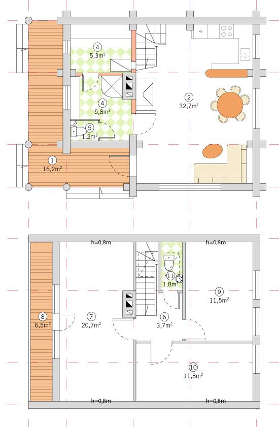 Guļbūves dzīvojamā ēka ar pirti projekts
