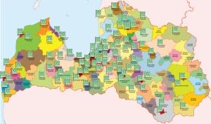 BUILDART.LV karte ar novadiem kuros realizēti projekti