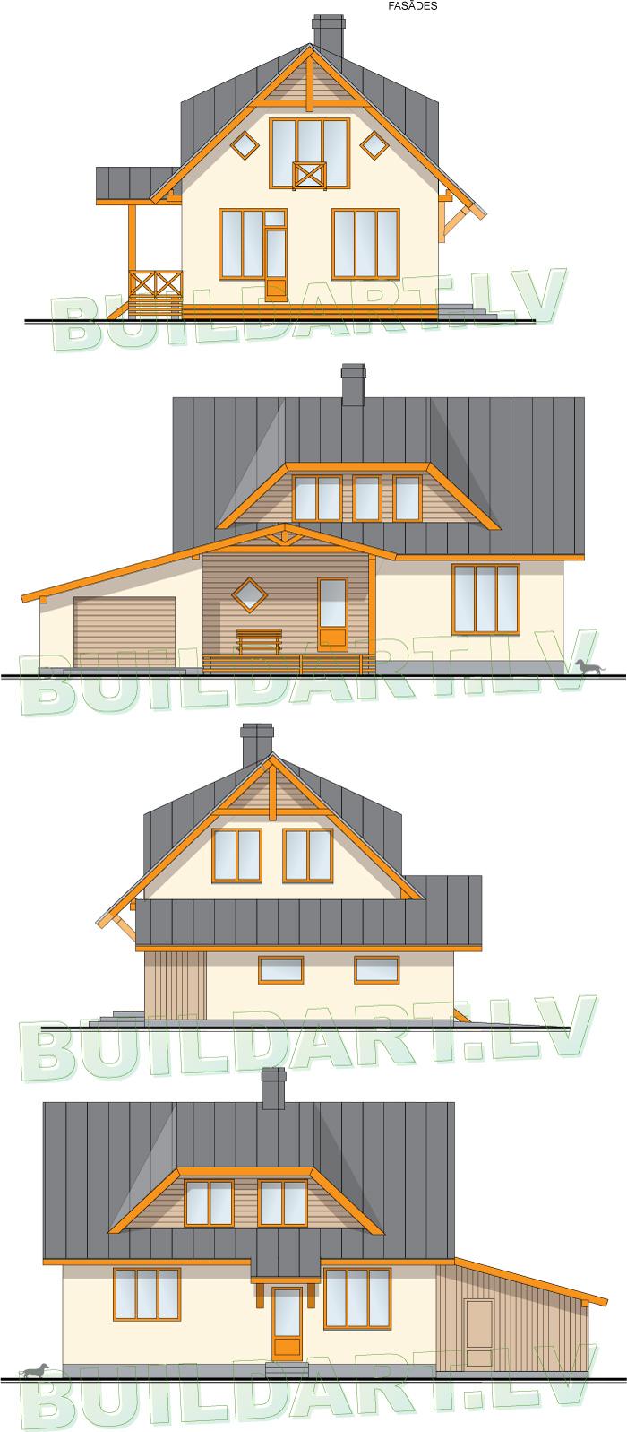 """Mājas projekts """"Aldis MAX"""" ar plašām augšstāva telpām, fasādes"""