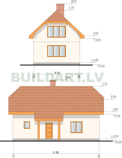 Ekonomiskas ēkas projekts, dzīvojamā ēka ar pirti