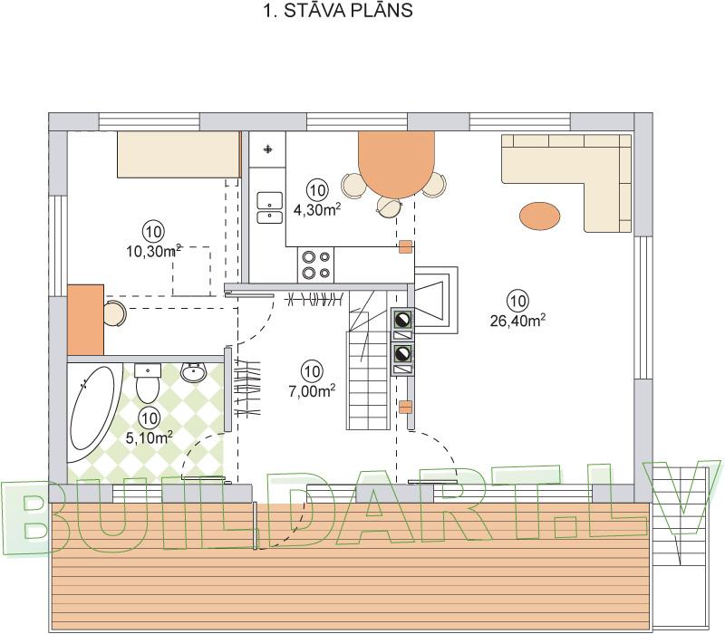 """Dzīvojamās mājas projekts """"Malvīne"""" - 1.st. plāns"""