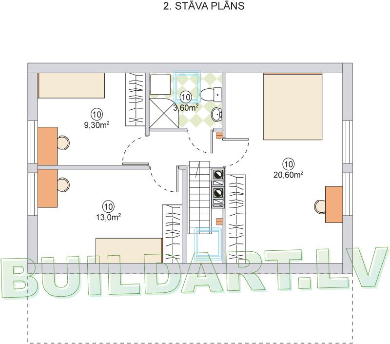 """Dzīvojamās mājas projekts """"Malvīne"""" - 2.st. plāns"""
