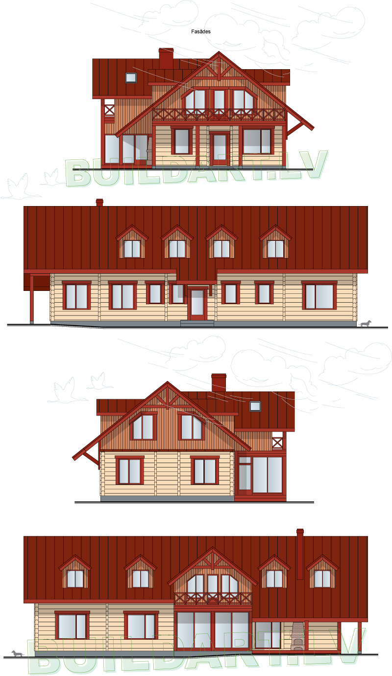 """Dzīvojamās mājas projekts """"Armands"""" - fasādes"""