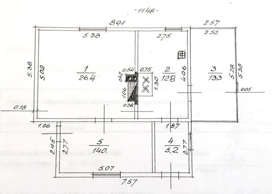 """Dzīvojamās mājas projekts """"Ilze"""" - senās ēkas plāns"""