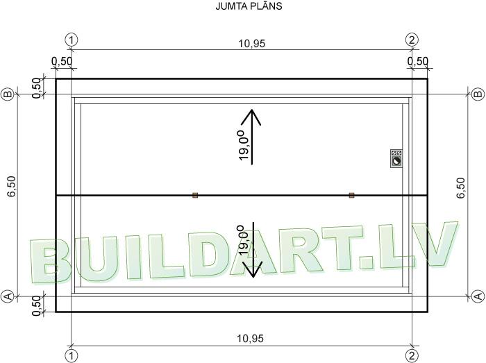 Auto darbnīcas projekts - jumta plāns