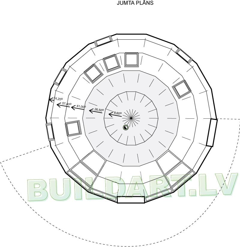 """Kupolmājas projekts """"Velda"""" - jumta plāns"""