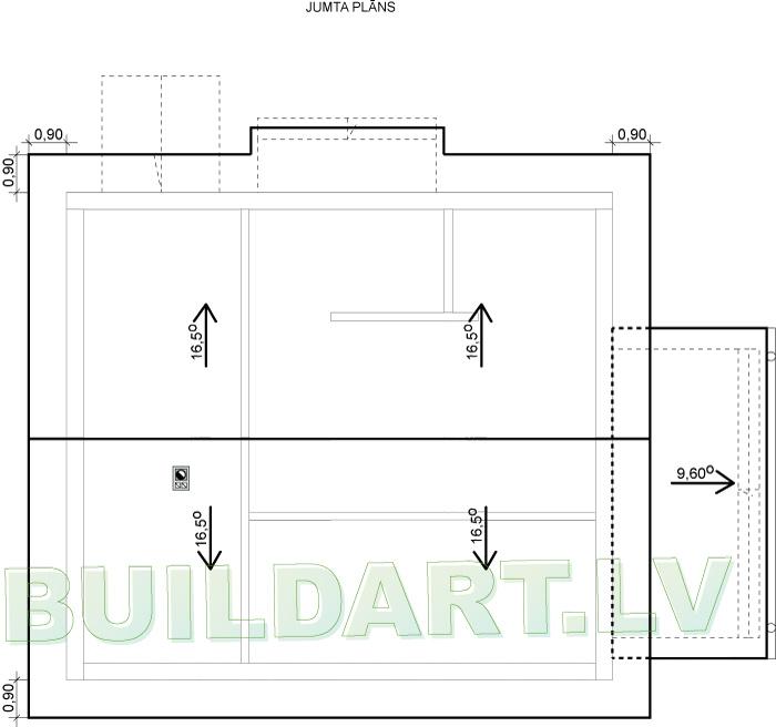 """Dzīvojamās mājas projekts """"Aleksandra"""" - jumta plāns"""