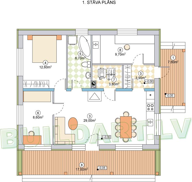 """Dzīvojamās mājas projekts """"Raimonds"""" - plāns"""