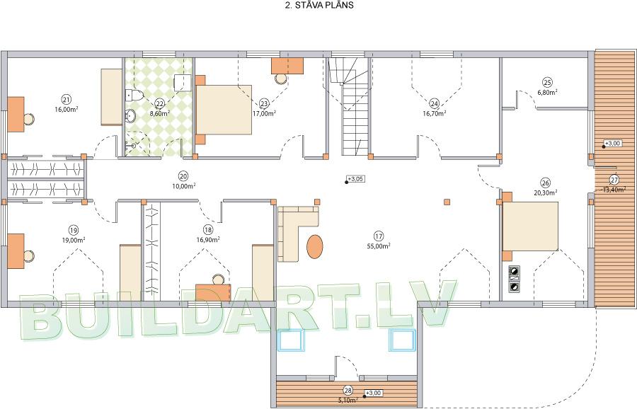 """Dzīvojamās mājas projekts """"Armands"""" - 2. stāva plāns"""