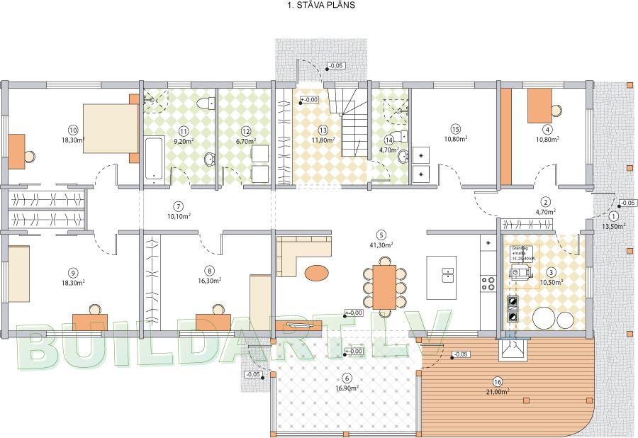 """Dzīvojamās mājas projekts """"Armands"""" - 1. stāva plāns"""