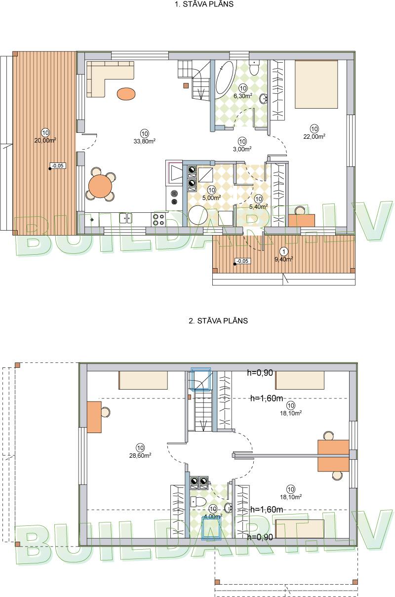 """Mājas projekts """"Aldis PLUS"""" - plāni"""