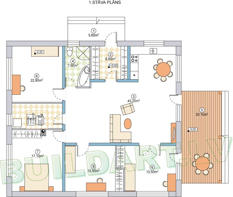 """Dzīvojamās mājas projekts """"Aleksandra"""" - plānojms - versija ar guļamistabu"""