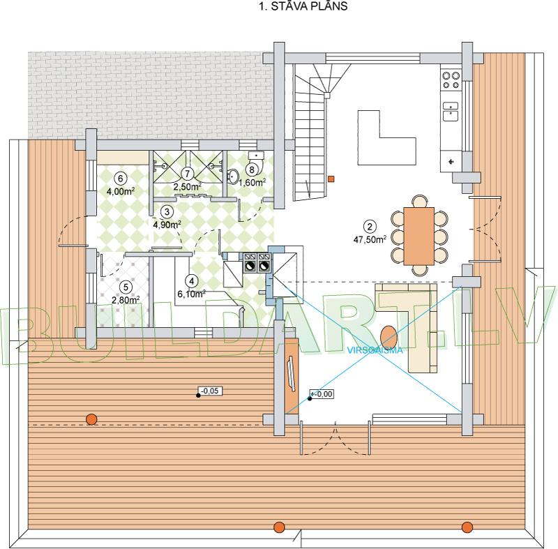 """Dzīvojamās mājas projekts """"Valda"""" - plāns"""
