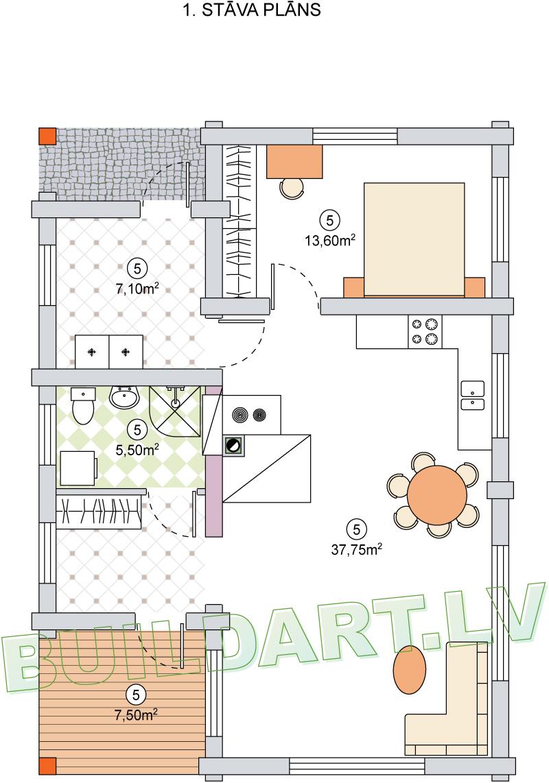 """Dzīvojamās mājas projekts """"Ilze"""" - plāns"""