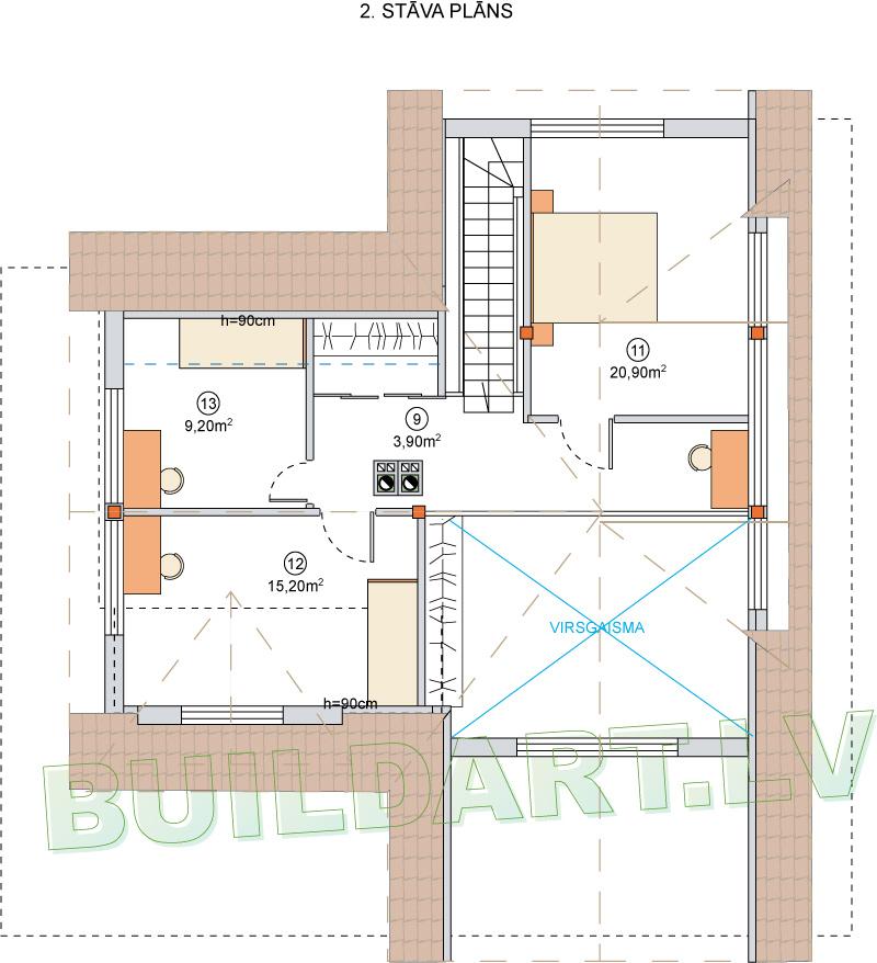 """Dzīvojamās mājas projekts """"Valda"""" - 2. stāva plāns"""