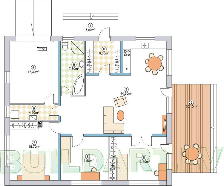 """Dzīvojamās mājas projekts """"Aleksandra"""" - plānojms - versija ar garāžu"""